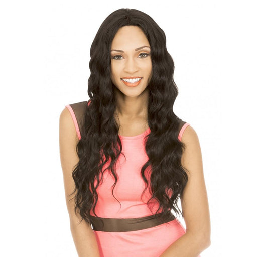 MLUH96 | Chade New Born Free Magic Human Hair Blend 4x4 U-Shape Lace Frontal Wig - Hair to Beauty | Color Shown: 1B