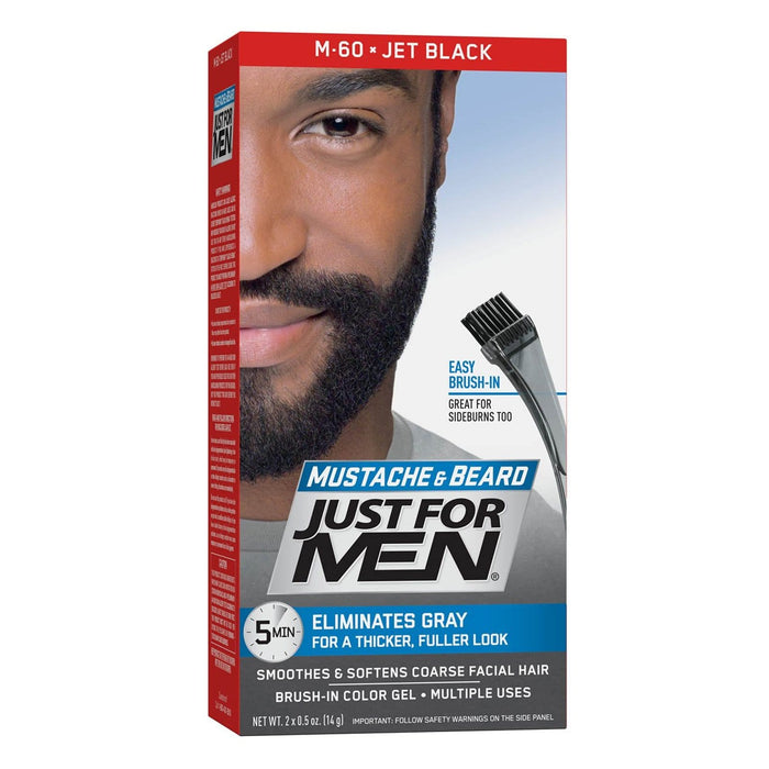 Just For Men | Mustache and Beard Brush-In Color Gel - Hair to Beauty | Color Shown : Jet Black