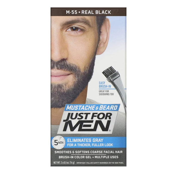Just For Men | Mustache and Beard Brush-In Color Gel - Hair to Beauty | Color Shown : Real Black