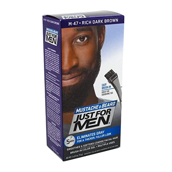 Just For Men | Mustache and Beard Brush-In Color Gel - Hair to Beauty | Color Shown : Rich Dark Brown