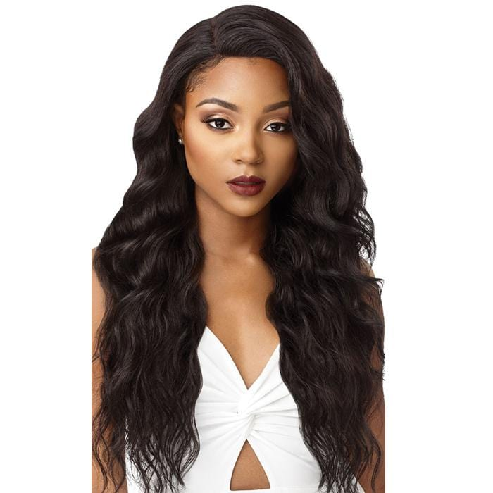 NATURAL LOOSE WAVE | Outre &Play Bundle Edition Human Hair Blend 13x4 Lace Frontal Wig - Hair to Beauty | Color Shown: NATURAL BROWN