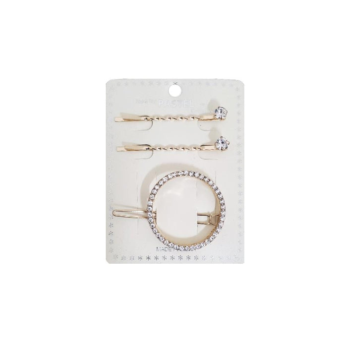 Pastel | Circle Rhinestone Hair Pin 3PCS Gold - Hair To Beauty