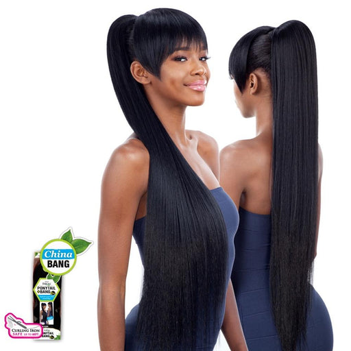LONG SLEEK YAKY 36 INCH and CHINA BANG | Freetress Equal Synthetic Ponytail - Hair to Beauty : 1B
