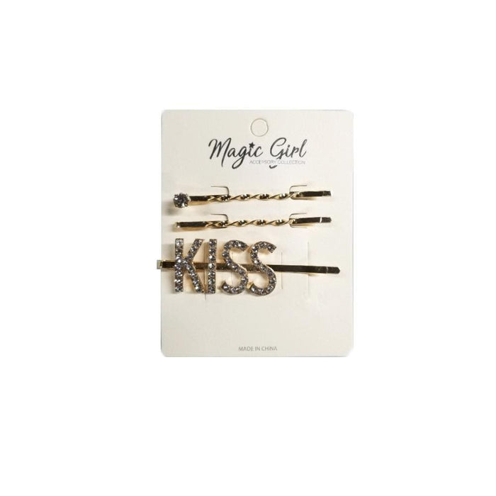 MAGIC | KISS Rhinestone Hair Pin 3PCS - Hair to beauty