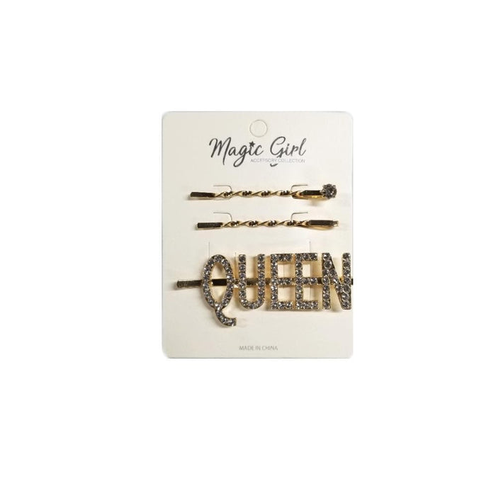 MAGIC | QUEEN Rhinestone Hair Pin 3PCS Gold - Hair to beauty