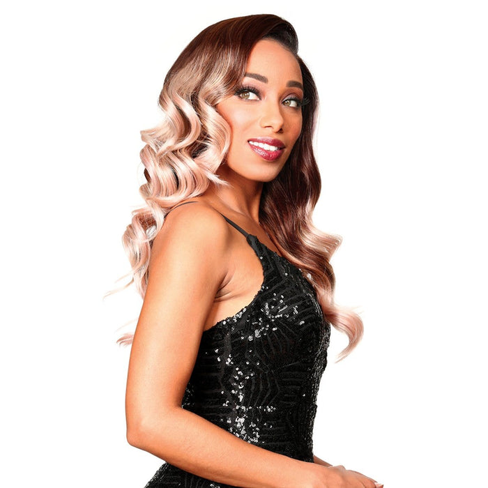 PM-FRONTAL LACE IZA | Human Hair Blend HD Lace Front Wig - Hair to Beauty | Color Shown : 3TF PINK