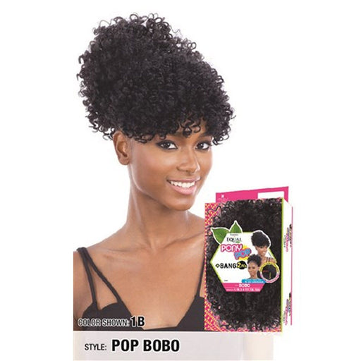 POP BOBO | Freetress Equal Synthetic Bang and Pony Pop - Hair to Beauty | Color Shown :1B