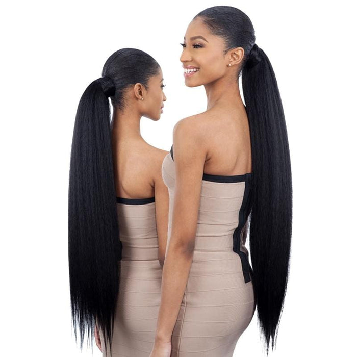 NATURAL YAKY 32 INCH | Milky Way Organique Pony Pro Synthetic Ponytail - Hair to Beauty | Color Shown : 1B