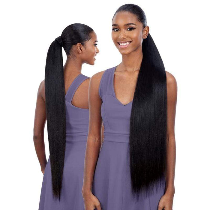 YAKY STRAIGHT 32 INCH | Milky Way Organique Pony Pro Synthetic Ponytail - Hair to Beauty | Color Shown : 1B