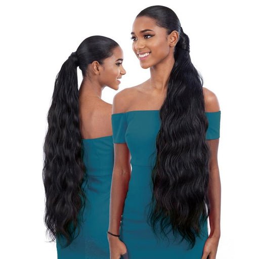 BODY WAVE 32 INCH | Milky Way Organique Pony Pro Synthetic Ponytail - Hair to Beauty | Color Shown : 1B