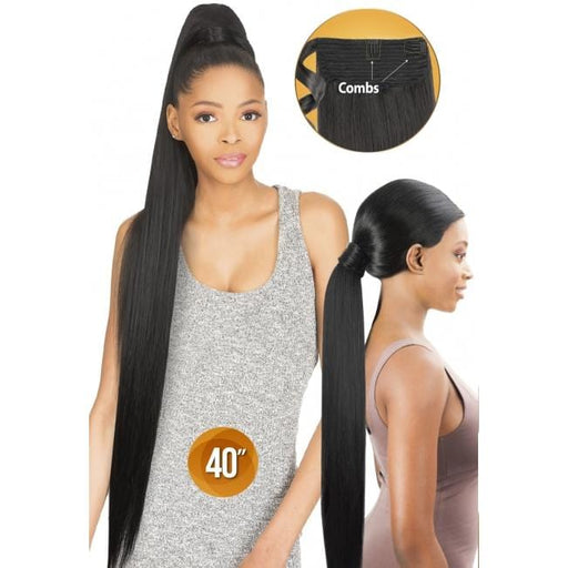 PWS40 - Chade Wrap N Tail Synthetic Braid Ponytail - Hair to Beauty | Color Shown : 1B