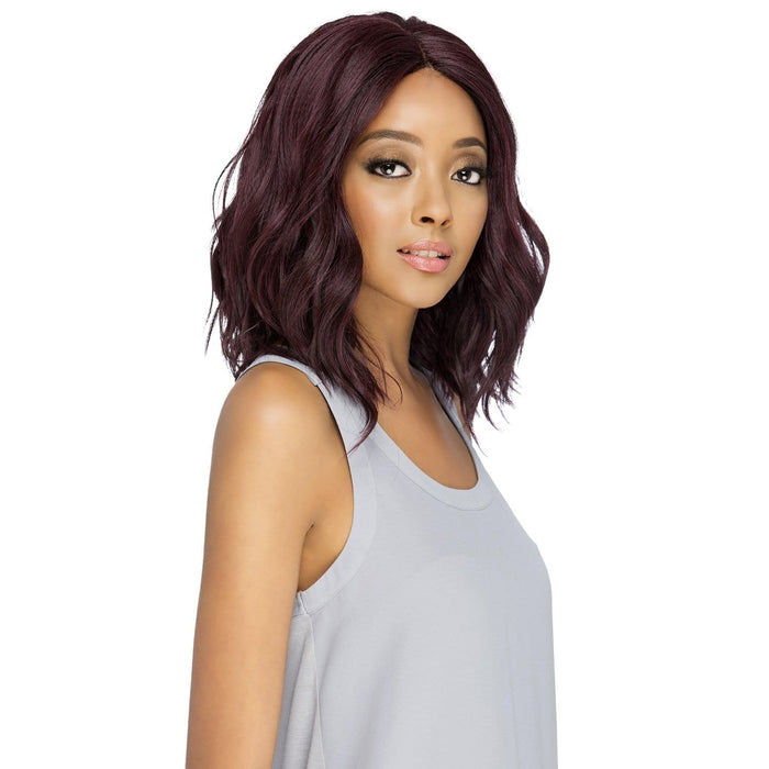 QUINN | Vivica A. Fox Synthetic Natural Baby Hair Invisible Part Swiss Lace Front Wig - Hair to Beauty | Color Shown: 99J