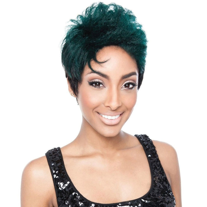 RCP515 ERIS | Red Carpet Stella Human Hair Wig  - Hair to Beauty | Color Shown : SH1B/TEALBLACK