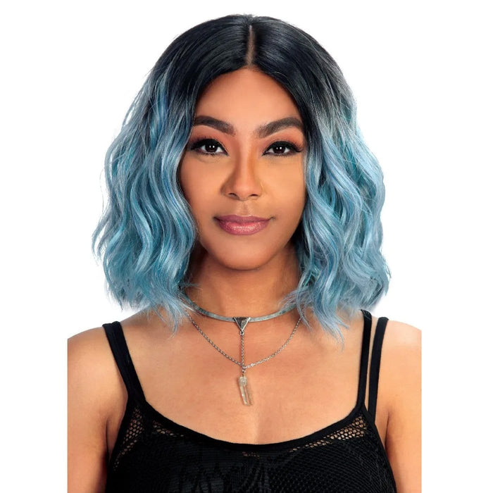 SASSY-LACE H IVY | Zury Sis Synthetic Lace Front Wig - Hair to Beauty | Color Shown: SOM RT BLUE PETAL