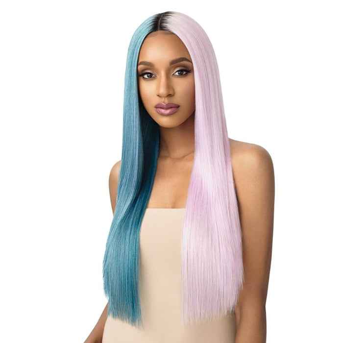 SEDIYAH | Outre Color Bomb Synthetic Lace Front Wig - Hair to Beauty | Color Shown: DRS MINTBLU+BABYPK