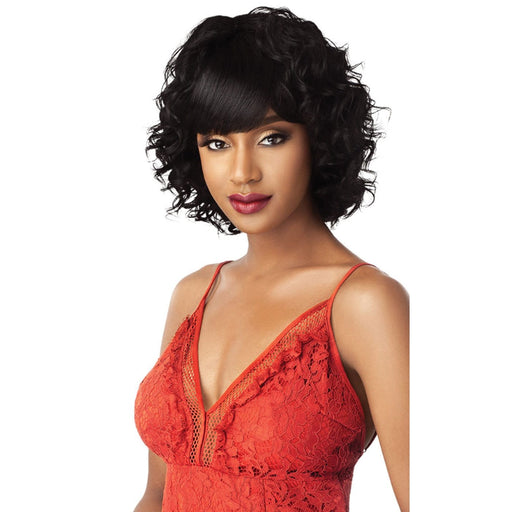 SELMA | Outre Unprocessed Human Hair Fab N Fly Full Cap Wig - Hair to Beauty | Color Shown : NATURAL BLACK