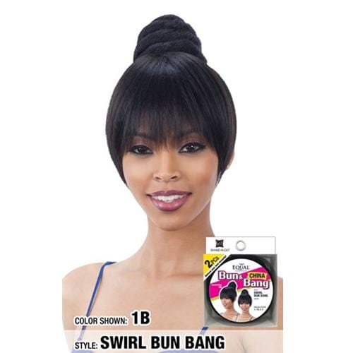 SWIRL BUN BANG l FreeTress Synthetic Bun & China Bang - Hair to Beauty l Color Shown:1B