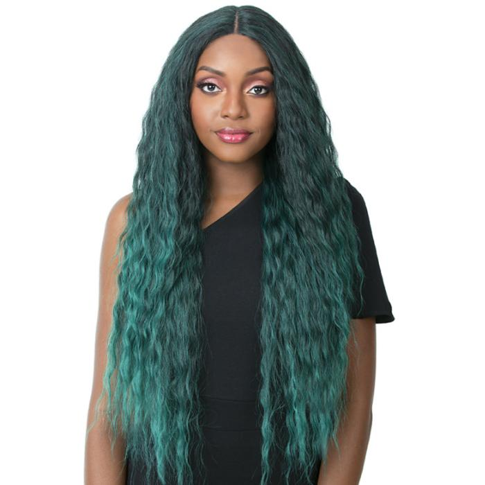 SWISS LACE CASCADE | It's a Wig! Synthetic Swiss Lace Front Wig - Hair to Beauty | Color Shown: TP EMERALD