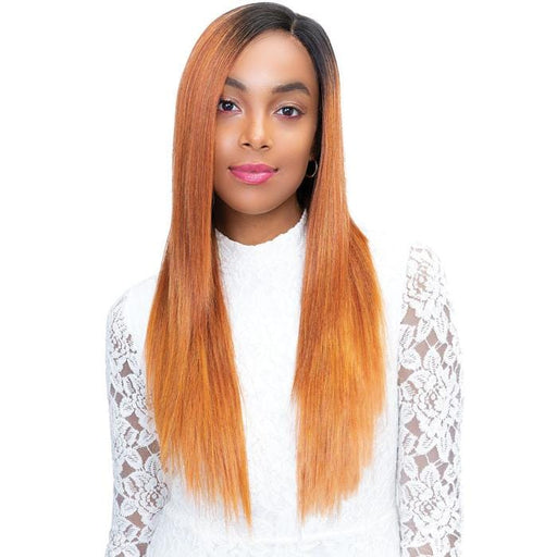 TAYLOR | Janet Collection Princess Human Hair Blend 4x4 Lace Frontal Wig - Hair to Beauty | Color Shown: TIGER ORANGE