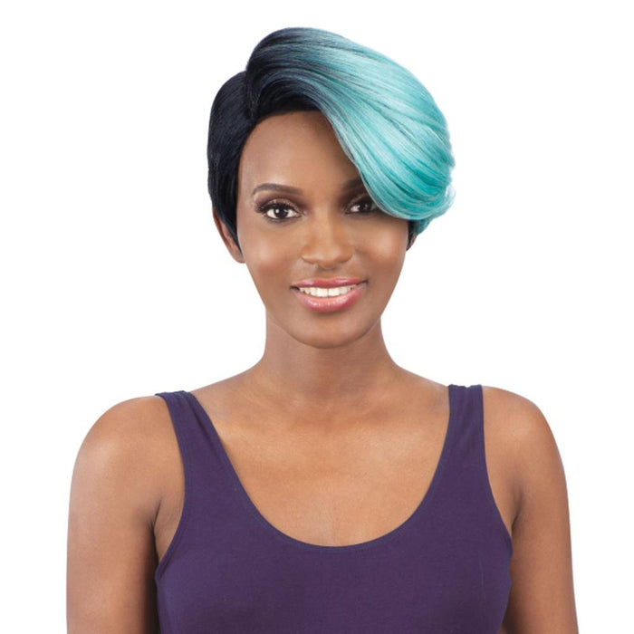 TRUDY | Synthetic Extreme Side L-Part Wig - Hair to Beauty | Color Shown: OTTIFFANY