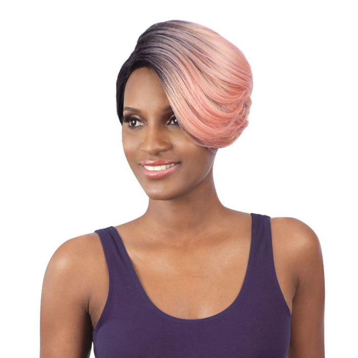 TRUDY | Synthetic Extreme Side L-Part Wig - Hair to Beauty | Color Shown: OTROSEGOLD
