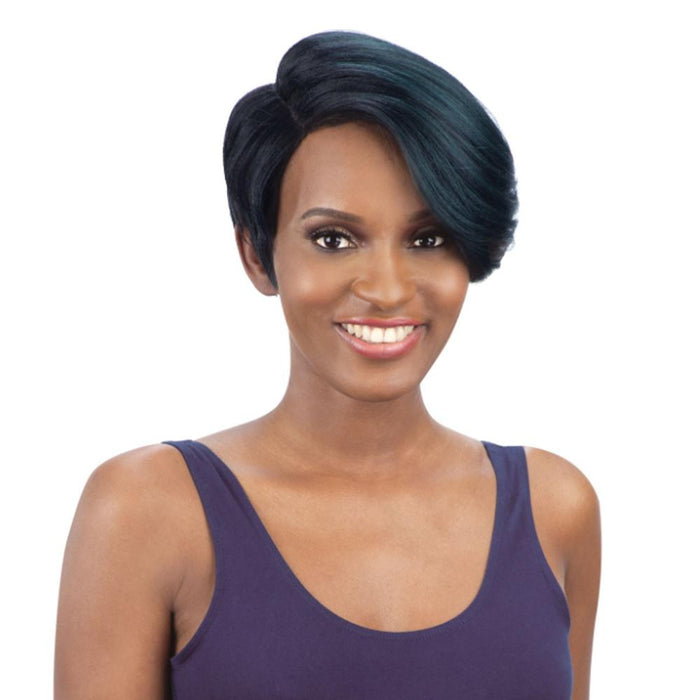 TRUDY | Synthetic Extreme Side L-Part Wig - Hair to Beauty | Color Shown: OTFOREST