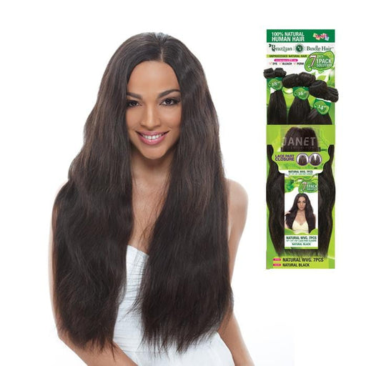 NATURAL WVG 7PCS | Unprocessed Brazilian Human Hair Weave - Hair to Beauty | Color Shown: NATURAL BLACK
