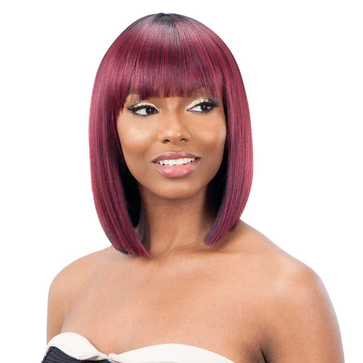 LITE WIG 001 | Synthetic Wig - Hair to Beauty | Color Shown: CMBERRY