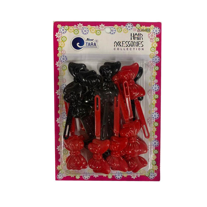 ZQ8688 | Red & Black Double Bow Barrettes - Hair to Beauty
