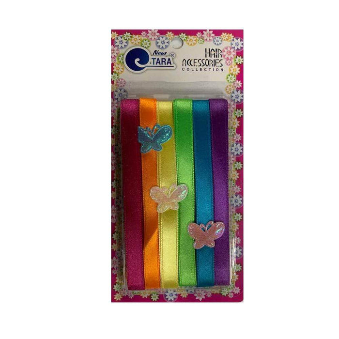 ZQ9001 | Assorted Rainbow Color Thin Ribbons with Butterflies - Hair to Beauty