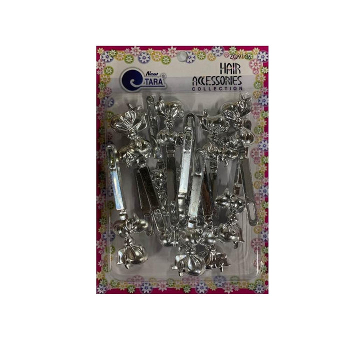 ZQ9106 | Silver Bow Barrettes - Hair to Beauty
