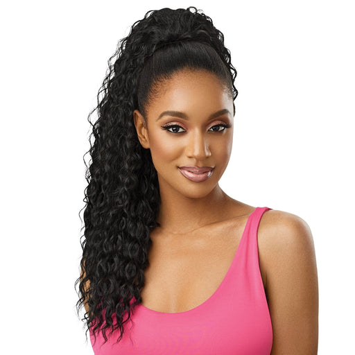 DEEP CURL 24″ | Pretty Quick Synthetic Ponytail - Hair to Beauty | Color Shown : 1B