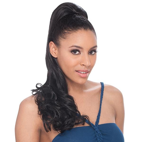 EQUAL YAKY STRAIGHT 20 INCH l FreeTress Synthetic Braided Drawstring Ponytail - Hair to Beauty l Color Shown: 1B