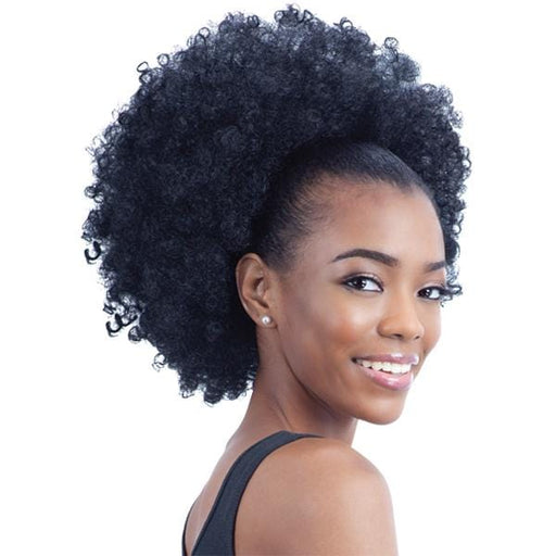 NATURAL FRO GIRL l FreeTress Synthetic Drawstring Ponytail - Hair to Beauty l Color Shown: 1B