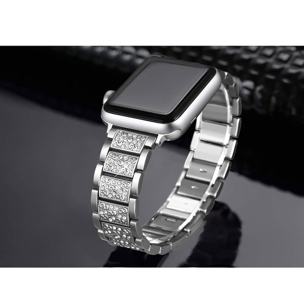 Compatible With Apple Watch Band 38mm 42mm iWatch Series 4 3 2 1 Rhinestone Stainless Steel Metal Wristband Strap
