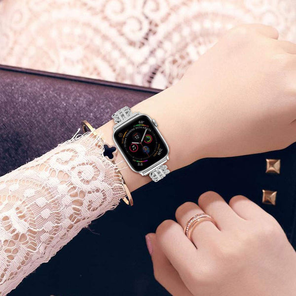 Women Bling Rhinestone Bracelet Band for Apple Watch 38mm 40mm /44mm 42mm for Iwatch Series 4 3 2 1 Stainless Steel Metal Wristbands Strap