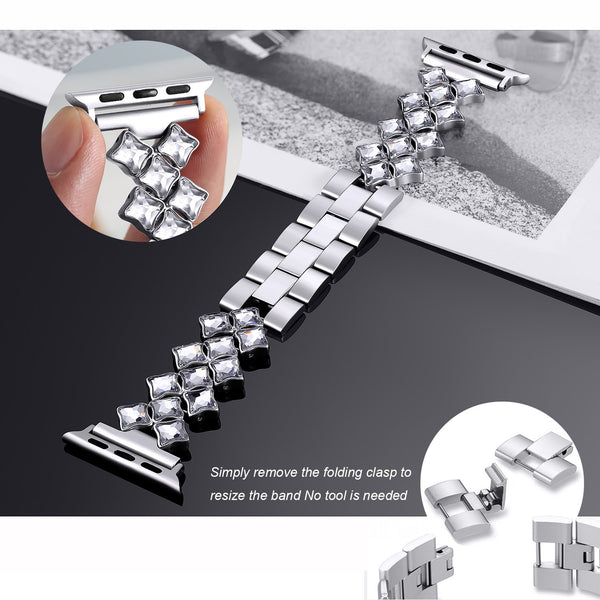 bling stainless steel iwatch band