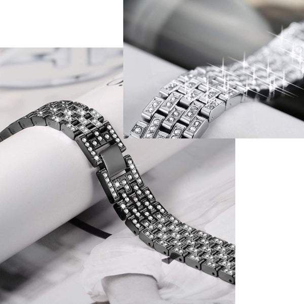 Dressy Bracelet Wristband Bling Metal Bands Compatible With Apple Watch 38mm 40mm iWatch