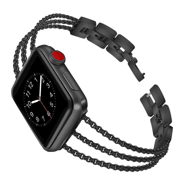 black apple watch crystal bling stainless steel band
