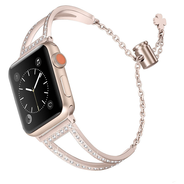 Stainless Steel Bands Compatible With Apple Watch 38mm 40mm Iwatch Series 4/3/2/1 Women Bling Jewelry Bracelet Bangle Wristband