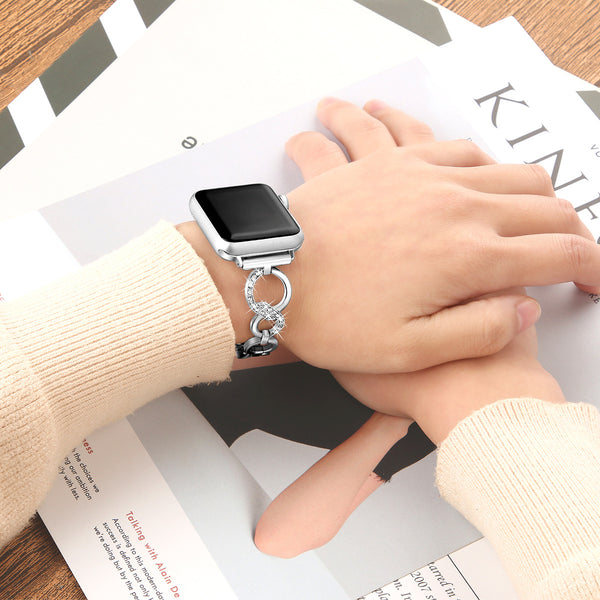 Popular Cuff Bracelet Bands for Apple Watch 38mm/40mm Compatible with Iwatch 1/2/3/4 Metal Stainless Steel Diamond Bracelet