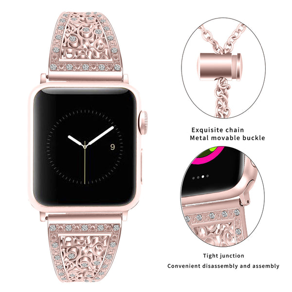 Watch Band Applicable Apple Watch Series 1/2/3/4 Flower Metal Stainless Steel Diamond Watch Strap