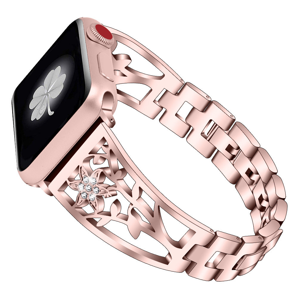 New Lily Flower Stainless Steel Strap Band for Apple Watch Series 1/2/3/4