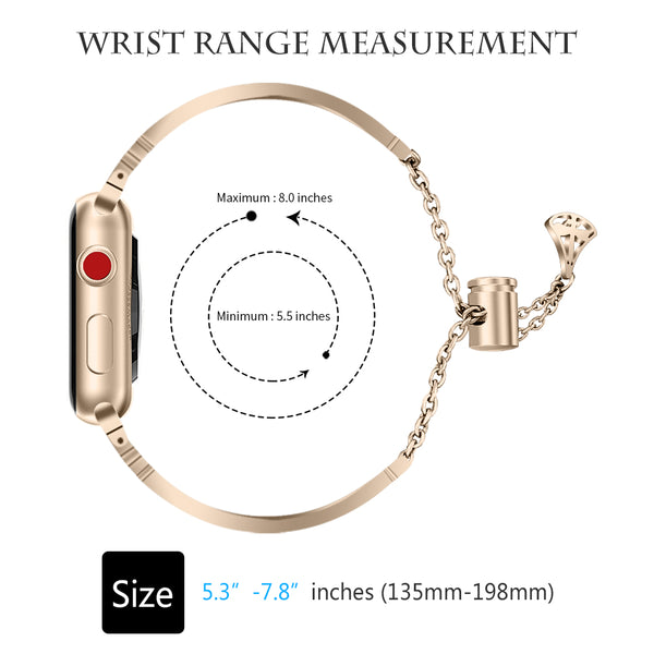 Compatible Apple Watch Band Series 1/2/3/4 Fashion Metal Stainless Steel  Dragonfly Pattern Diamond Strap Bracelet