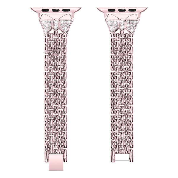 Butterfly Pattern Apple Watch Band Series 1/2/3/4 Zinc Alloy Diamond Watch Strap Bracelet
