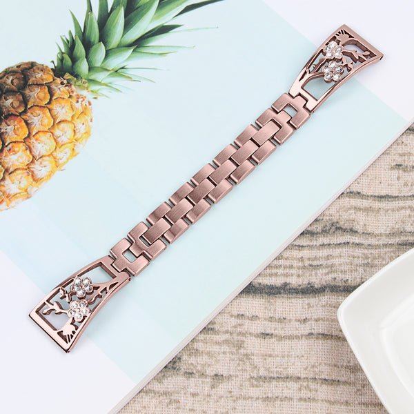 Plum Blossom Pattern Stainless Steel Diamond Strap Band Compatible Apple Watch Series 1 2 3 4