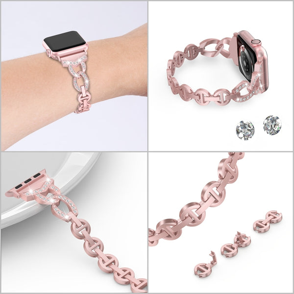 Bling Rhinestone Band for Apple Watch 38mm 42mm 40mm 44mm Stainless Steel Wrist Band for iWatch Series 4 3 2 1