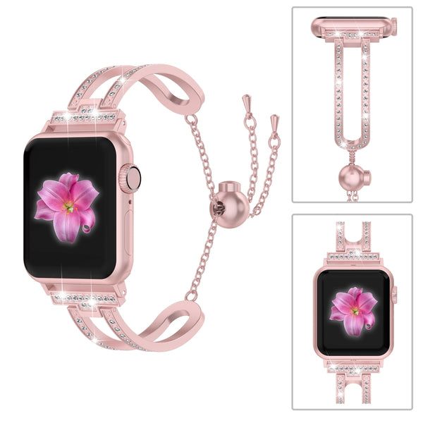 For Apple Watch Band 38mm/42mm iWatch 4 3 2 1 Bling Jewelry Dressy Wristband Rhinestone Strap
