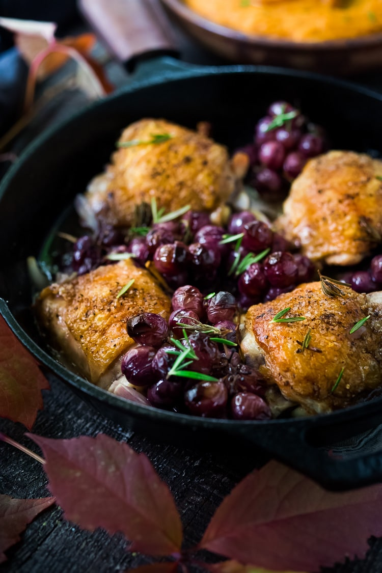 Rosemary Chicken with Roasted Grapes and Shallots