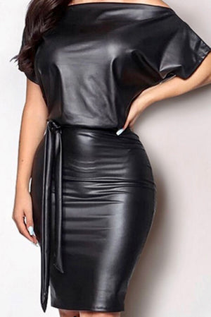 Pretty Little Thing Faux Leather Dress - Forbidden Fruits Boutique